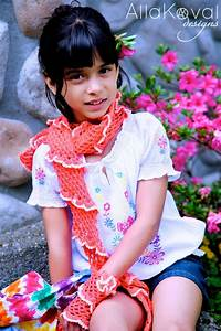 Coral Reef  Crochet Scarf  Gloves And Flower Pin 3 Pc Set
