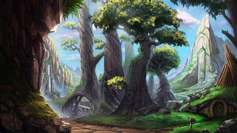 digital art drawing painting landscape nature forest
