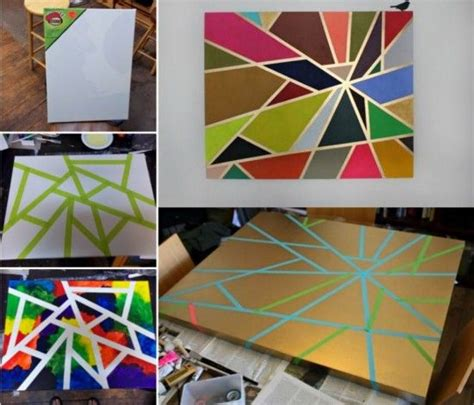 diy geometric tape painting pictures   images