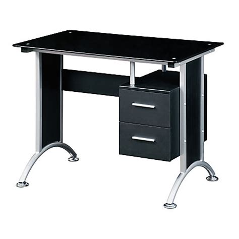 techni mobili glass computer desk black by office depot