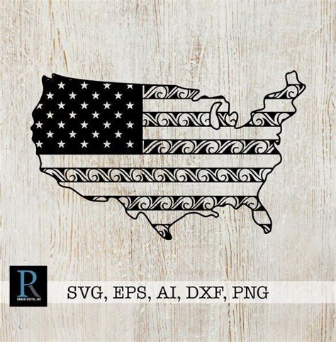 Usa flag clipart png included, for personal & commercial use. Zentangle American Flag SVG USA Map SVG | Etsy in 2020 ...