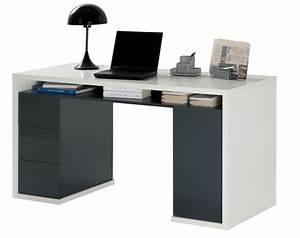 Meuble Tiroir Bureau : bureau 3 tiroirs 1 porte moneta 2 blanc gris fonce ~ Teatrodelosmanantiales.com Idées de Décoration