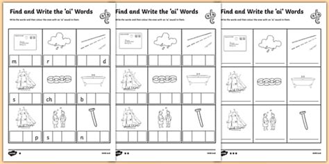 ai words phonics differentiated worksheet pack twinkl