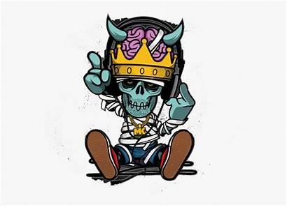 Hop Hip Cartoon Graffiti Rapper Skull Illustration