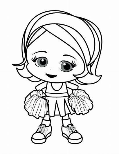Coloring Pages Cheerleader Girly Cheer Printable Cartoon