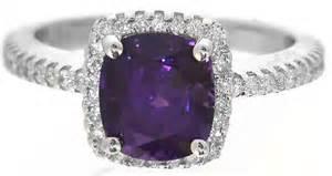 purple sapphire engagement rings cushion cut purple sapphire and halo engagement ring in 14k white gold gr 5825