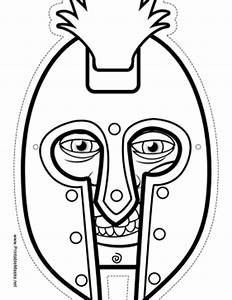 printable male greek warrior mask to color mask With ancient greek mask template