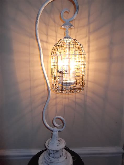birdcage chandelier shabby chic birdcage chandelier table l shabby chic white vintage