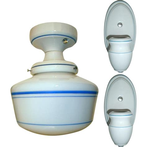 vintage set alabax porcelain light fixtures from