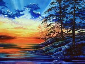 Glorious, Lake, Sunset, Painting, By, Hanne, Lore, Koehler
