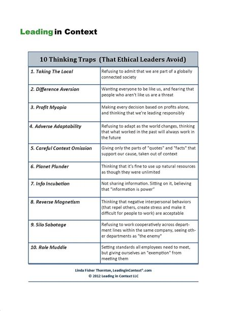 thinking traps  ethical leaders avoid