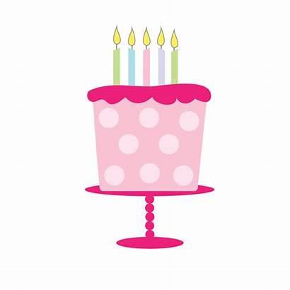 Cake Birthday Clipart Clip Pink Cupcake Dot