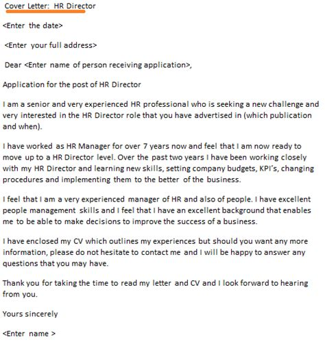 hr director cover letter  icoverorguk