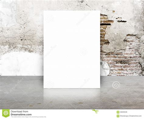 Concrete Brick Template by White Blank Poster In Crack Brick Wall And Concrete Floor