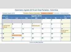 Calendario Agosto 2019 para imprimir Colombia