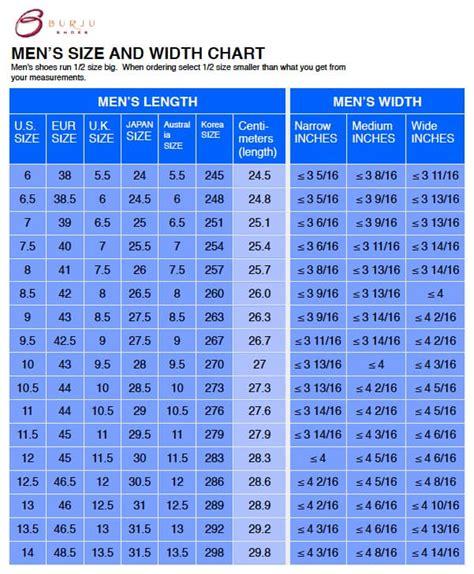 shoe width chart    perfect size shoe