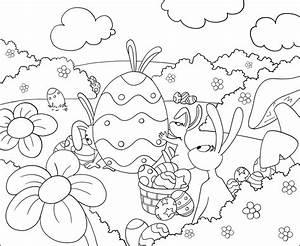 Coloriage De Paque : jeux pour enfant coloriage de lapins et d 39 oeufs de paques ~ Melissatoandfro.com Idées de Décoration