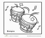 Bongo Coloring Drums Worksheet Bongos Drum Pages Education Template Child sketch template