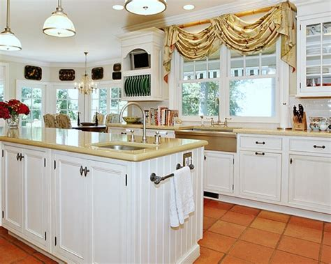 nb kitchen yellow countertop white cabinets terracotta