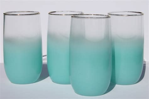 Mod vintage aqua blue blendo color fade glass drinks set