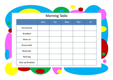 10 Best Images Of Morning Chore Chart Printable