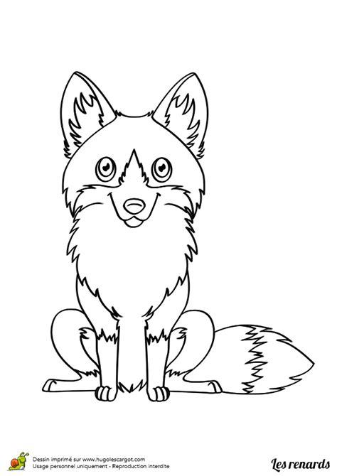 dessin de renard facile coloriage petit renard assis sur hugolescargot