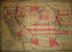 Vintage 1868 UNITED STATES SOUTHWEST TERRITORIES Map ...