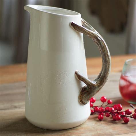 ceramic pitcher antler handle antler decor antler