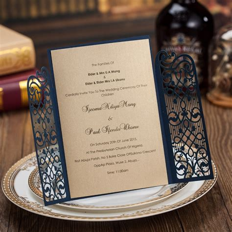 cheap navy gate laser cut wedding invitations rustic