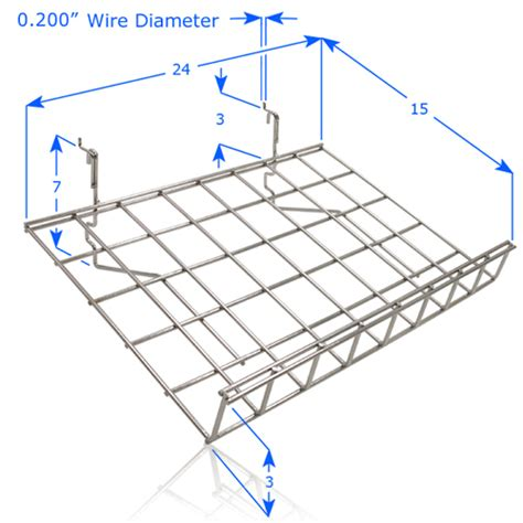 Free Standing Slatwall Slanted Wire Shelf With Lip