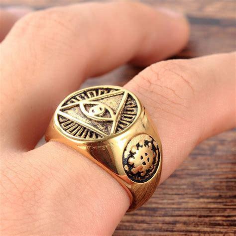 Illuminati Ring Mendino S Stainless Steel The All Seeing Eye Pyramid