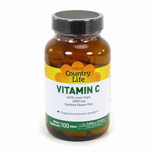 Vitamin C 1000 Mg With Rose Hips By Country Life 100 Tablets
