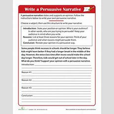Persuasive Writing For Kids  Worksheet Educationcom