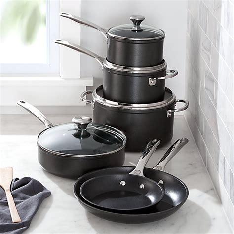 creuset le cookware piece nonstick pans toughened crate line barrel crateandbarrel