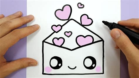How To Draw A Cute Envelope With Love Hearts Easy