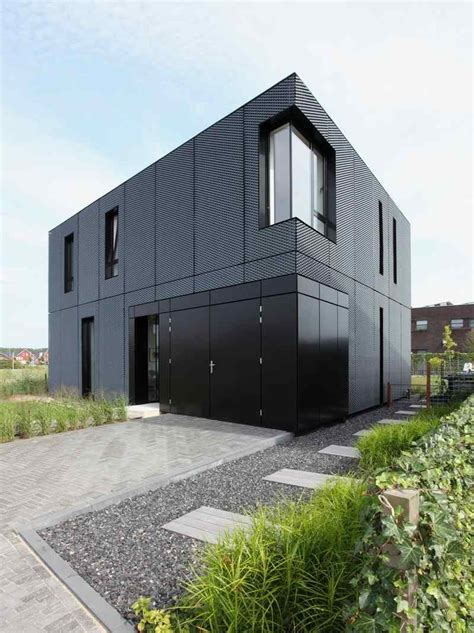 Simple Metal Home Plans Ideas by Simple Box Shaped House With Patterned Aluminum Facade