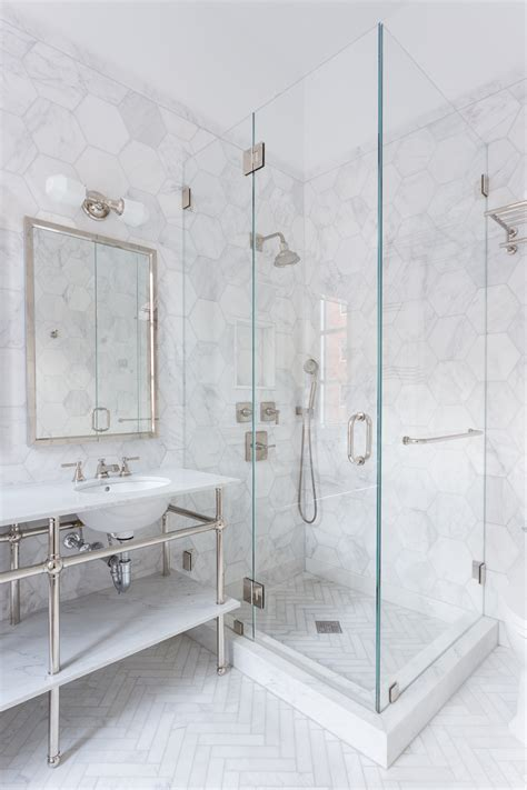 bathroom marble tile 34 stunning marble bathrooms with silver fixtures hexagons white marble and marbles