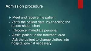 Admission Procedure In Nursing
