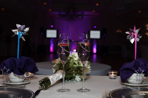 The bride and groom table adjourned with pinwheels and