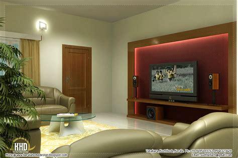 Beautiful living room rendering - Kerala home design and