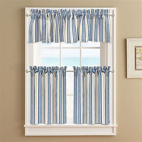 Ropes Window Curtain Tier Pair in Blue   Bed Bath & Beyond