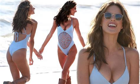 Alessandra Ambrosio sizzles in blue bathing suit