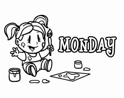 Coloring Monday Week Days Semana Dias Dia