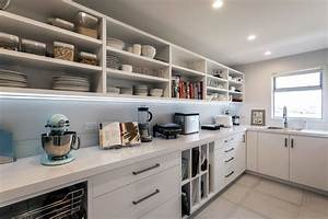 Large Walk-in Scullery with Open Shelves and Sink - Modern