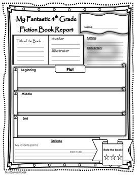 book report template 4th grade book report fiction and non fiction 4th grade by baylosis