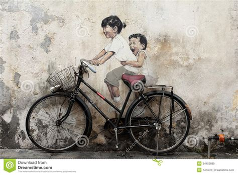 bicycle mural painting  penang editorial stock image