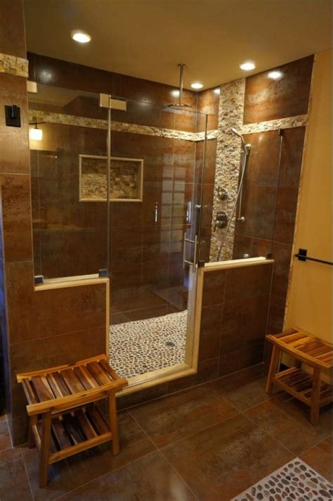 Beautiful Bathroom Design With Large Unique Walk In Shower