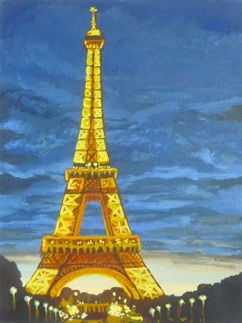 eiffel tower  night art original canvas painting
