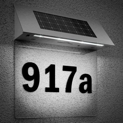 solar powered led house number door light wall number