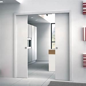 Porte A Galandage Double : ch ssis pour porte coulissante galandage deux vantaux ~ Premium-room.com Idées de Décoration